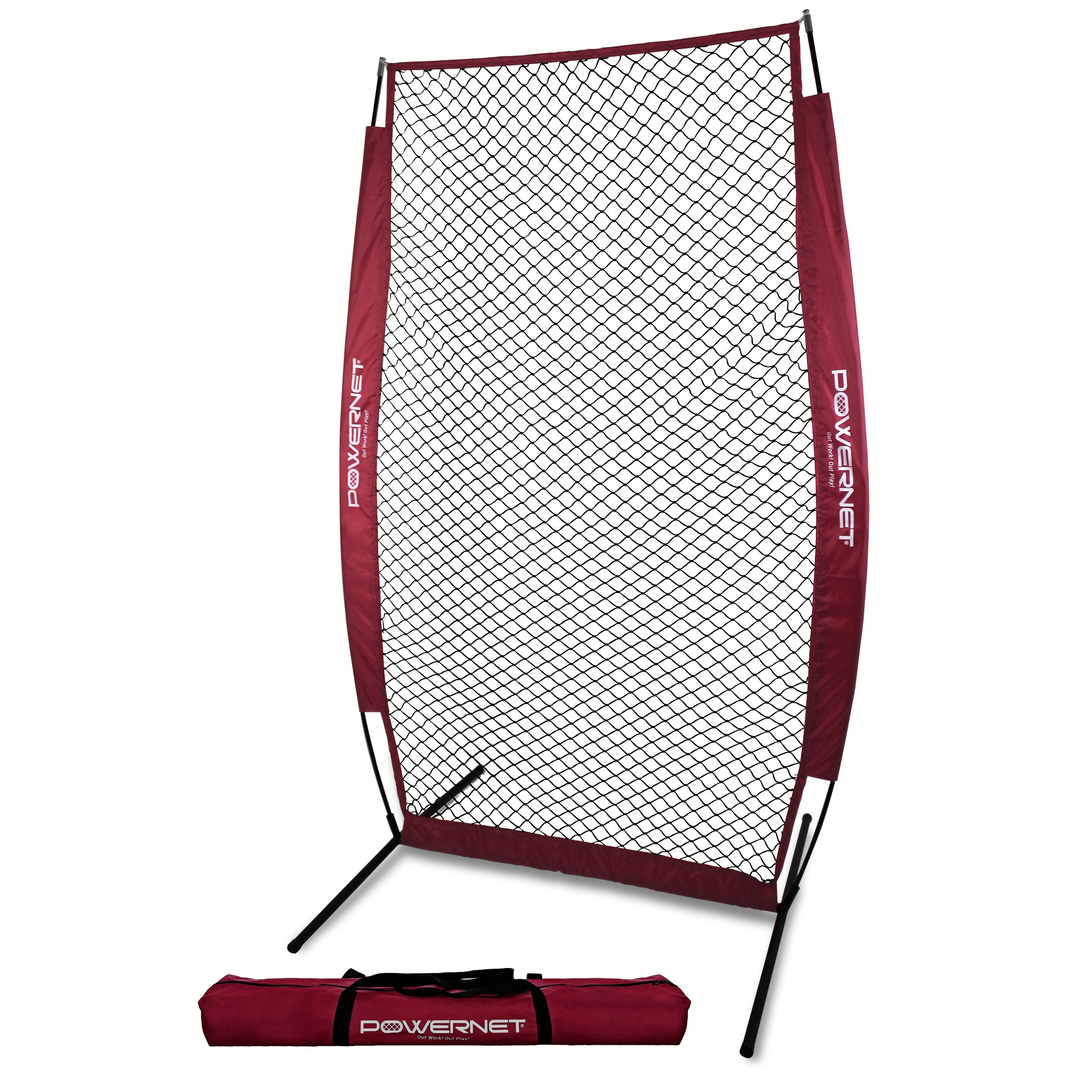PowerNet I-Screen with Frame and Carry Bag (Maroon) | Portable Baseball Pitcher Protection at Batting Practice | Instant Player and Coach Protector from Line Drives Grounders | Heavy Duty Netting