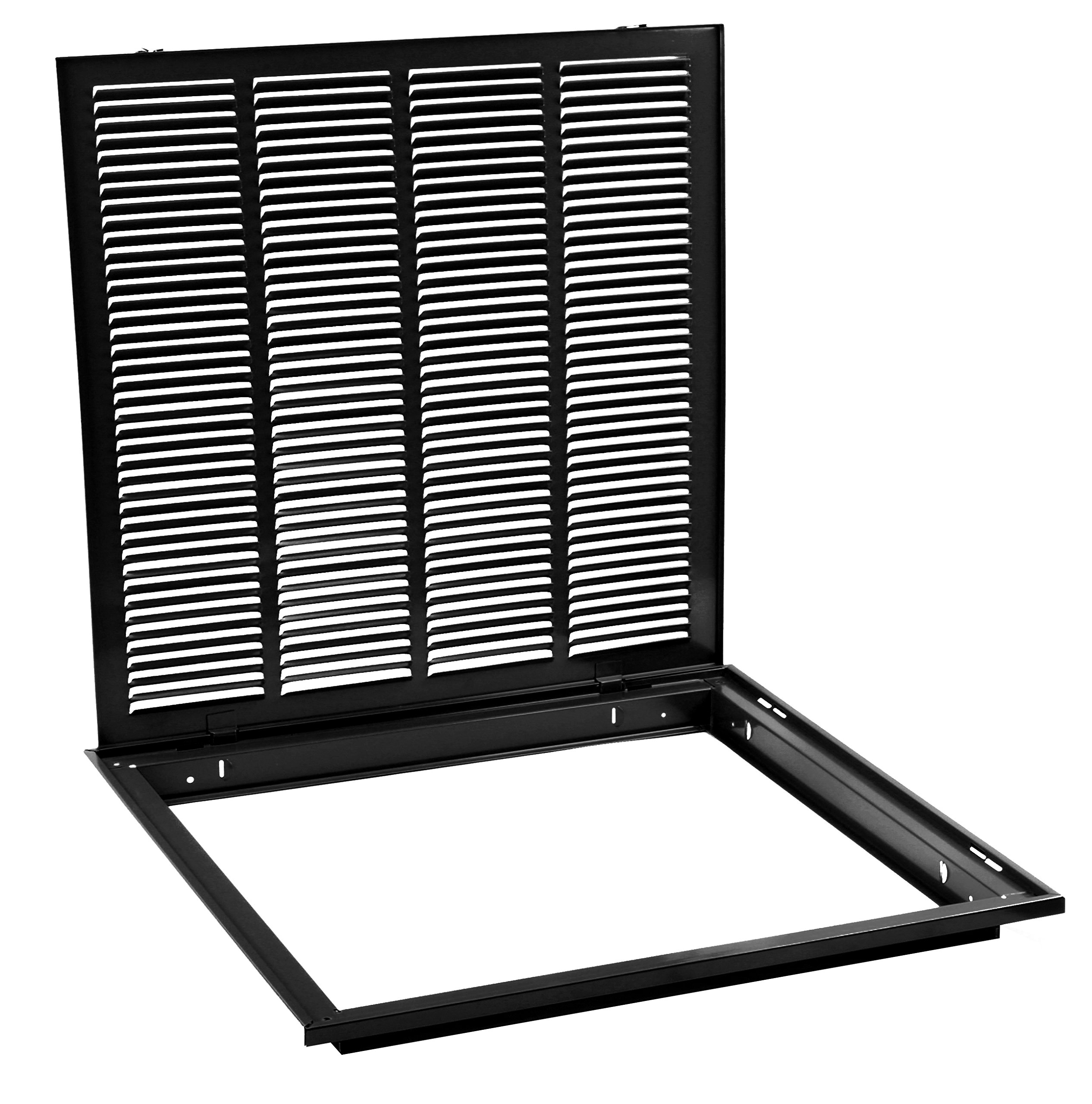 20'' X 20 Steel Return Air Filter Grille for 1'' Filter - Removable Face/Door - HVAC DUCT COVER - Flat Stamped Face - Black [Outer Dimensions: 22.5''w X 22.5''h] by HVAC Premium (Image #2)