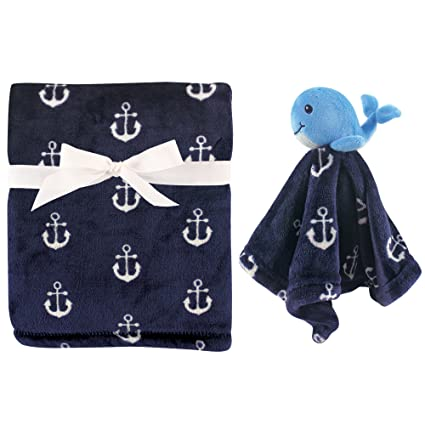 Hudson Baby Blanket with Satin Binding Whale