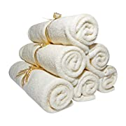 Baby Washcloths - Organic Bamboo, Luxury 2-ply washcloth. Suitable for Eczema. Best for Baby Shower/ Registry Gifts. All Natural, Safe and Soft Reusable Wipes. 10.6 , 6 pack. Free EBook - SmilingGaia