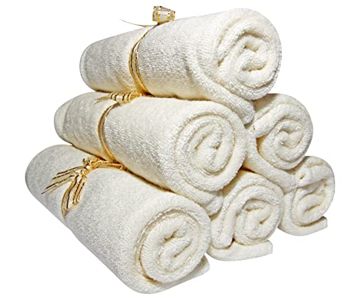 """Baby Washcloths - Organic Bamboo, Luxury 2-ply washcloth. Suitable for Eczema. Best for Baby Shower/ Registry Gifts. All Natural, Safe and Soft Reusable Wipes. 10.6"""", 6 pack. Free EBook - SmilingGaia"""