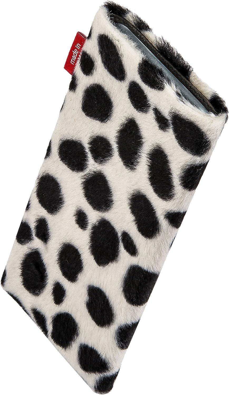 H/ülle mit Reinigungsfunktion Made in Germany fitBAG Bonga Dalmatiner Handytasche Tasche aus Fellimitat mit Microfaserinnenfutter f/ür Samsung Galaxy A40