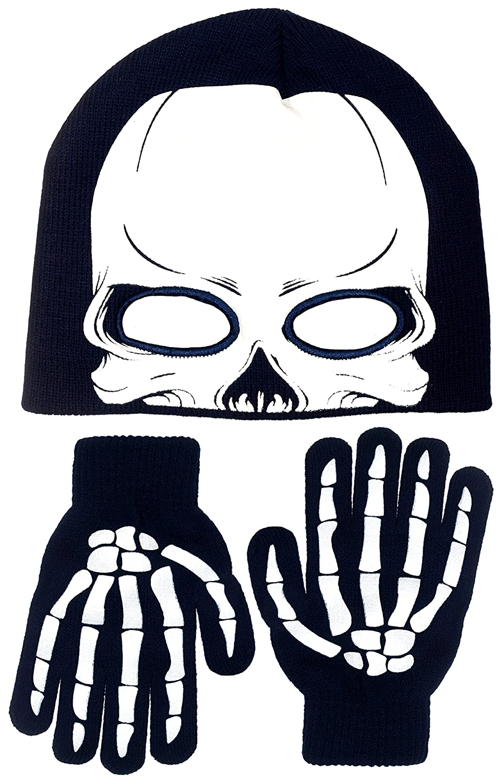 Polar Wear Boy's Skeleton Knit Beanie Eye Holes & Glove Set B7C1616