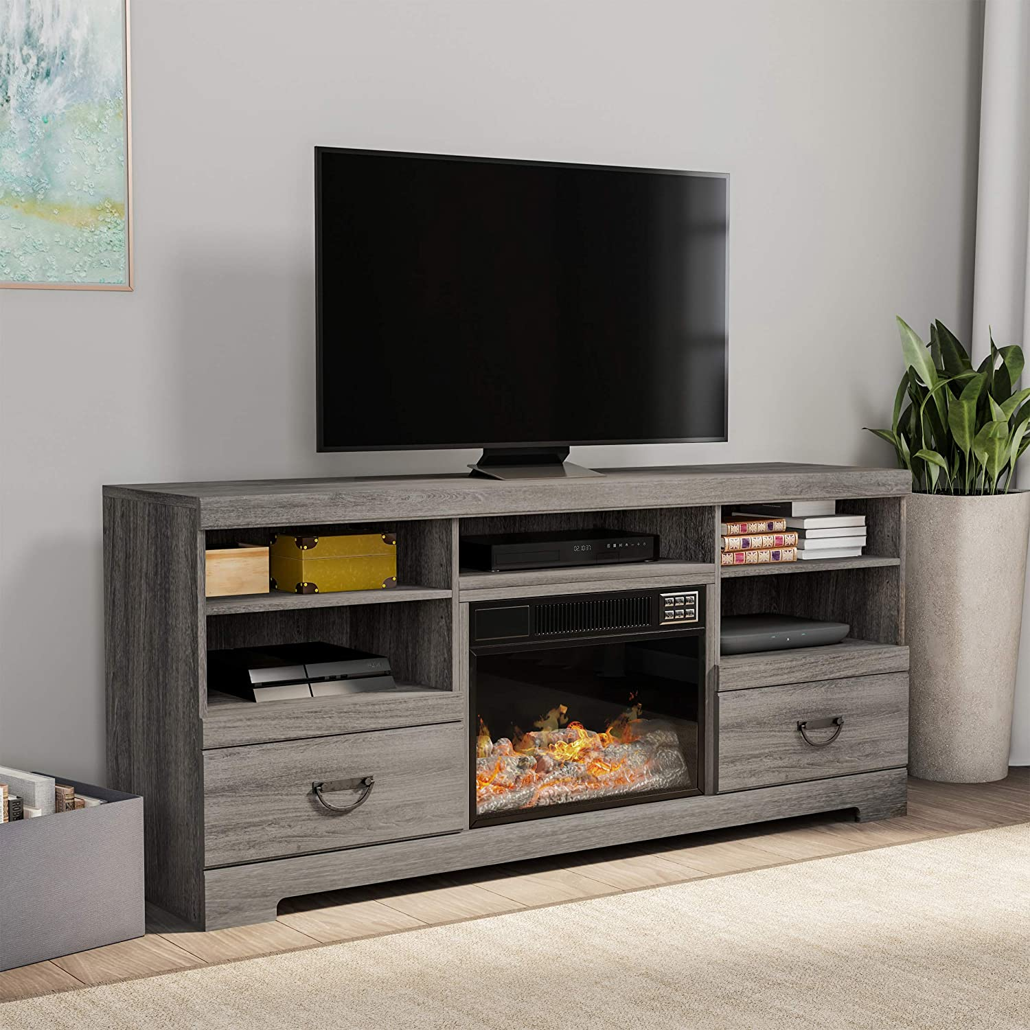 """Lavish Home 80-FPWF-8 Heat Electric Fireplace Console-for TVs up to 65"""", Media Shelves,Two Drawers,Remote Control, LED Flames, Adjustable Heat & Light by Northwest, Grey"""