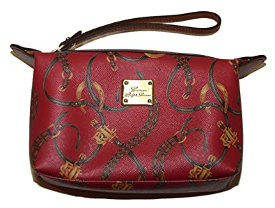 Polo Ralph Lauren Womens Equestrian Clutch Leather Cosmetic Bag Wristlet Red 99f0f21d90