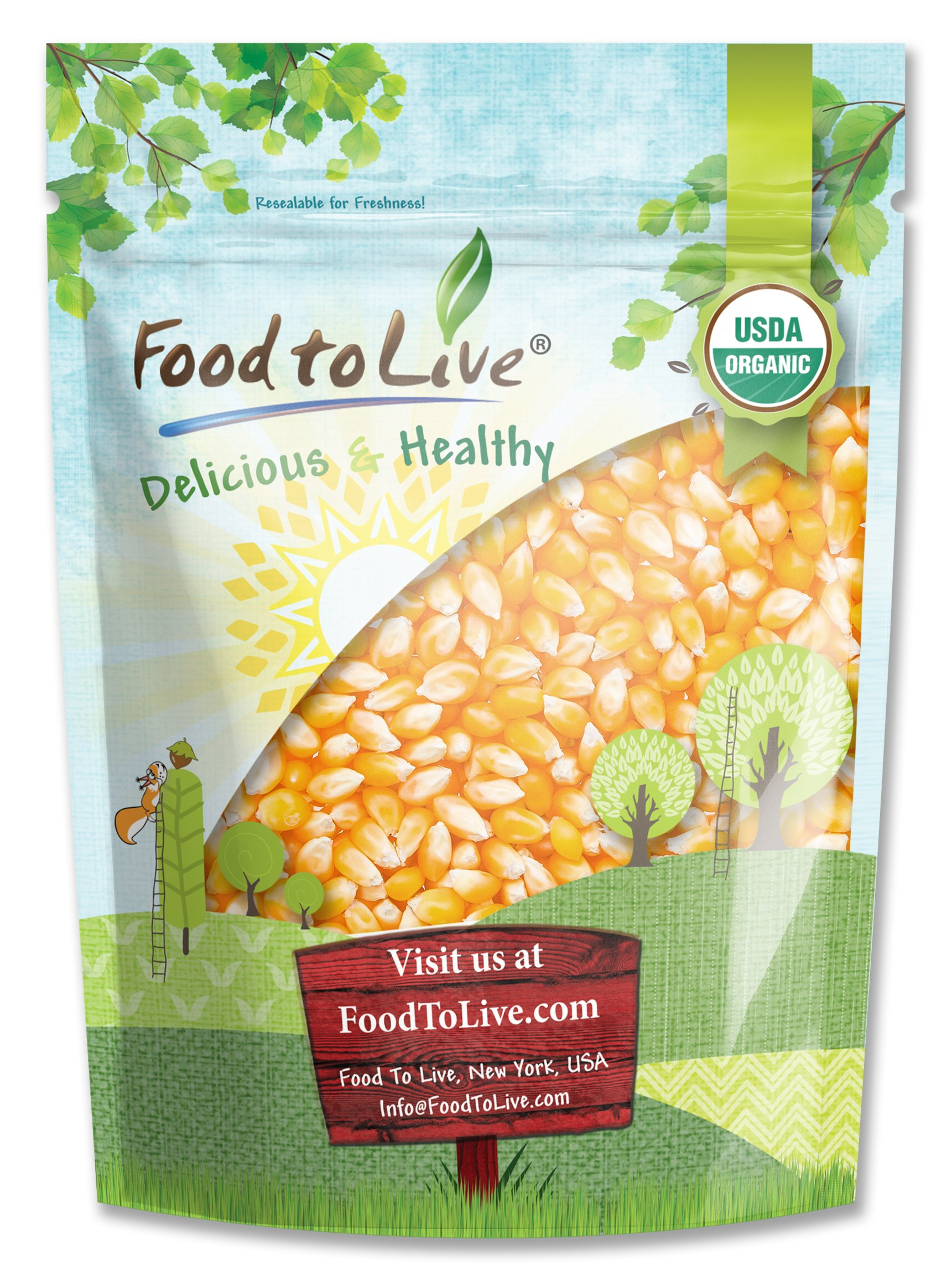 Organic Super Sweet Corn, 3 Pounds - Freeze-Dried Kernels, Non-GMO, Kosher, Raw, Healthy Snack, Bulk, Grown in the USA by Food to Live