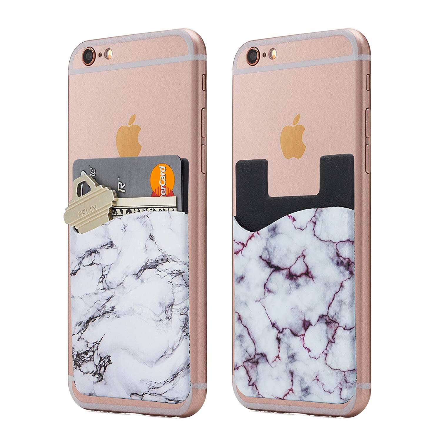 (Two) Marble cell phone stick on wallet card holder phone pocket for iPhone, Android and all smartphones. (PinkBlack) Cardly