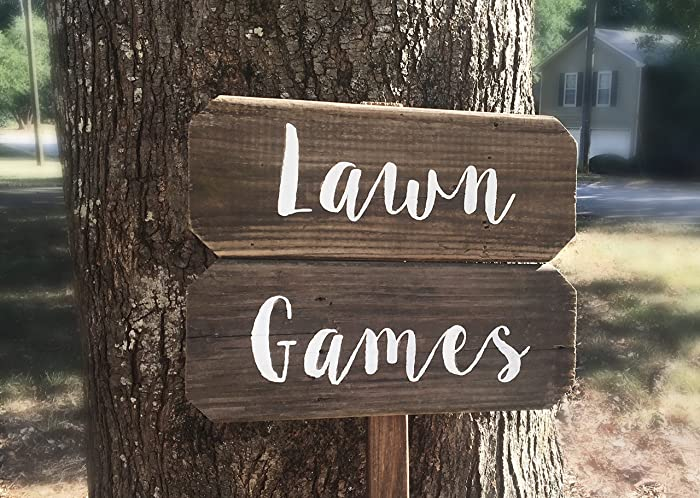 Amazon.com: Lawn Games Sign, Yard Games Sign, Barn Wood Signs ...