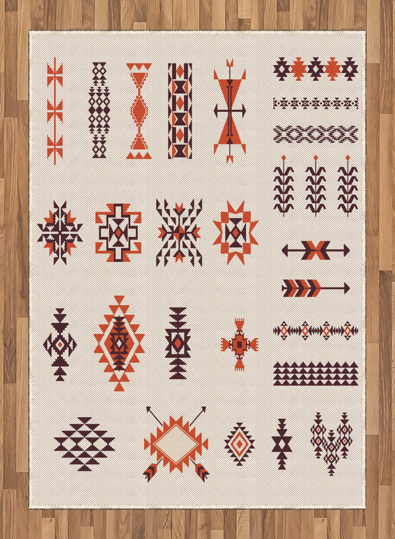 Native American Area Rug by Ambesonne, Illustration of Aztec Pattern Tribal Decor Geometric Print, Flat Woven Accent Rug for Living Room Bedroom Dining Room, 5.2 x 7.5 FT, Orange and Brown