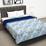 Divine Casa Twilight Microfiber All Weather Double Dohar, Abstract- Sky Blue and Dark Blue