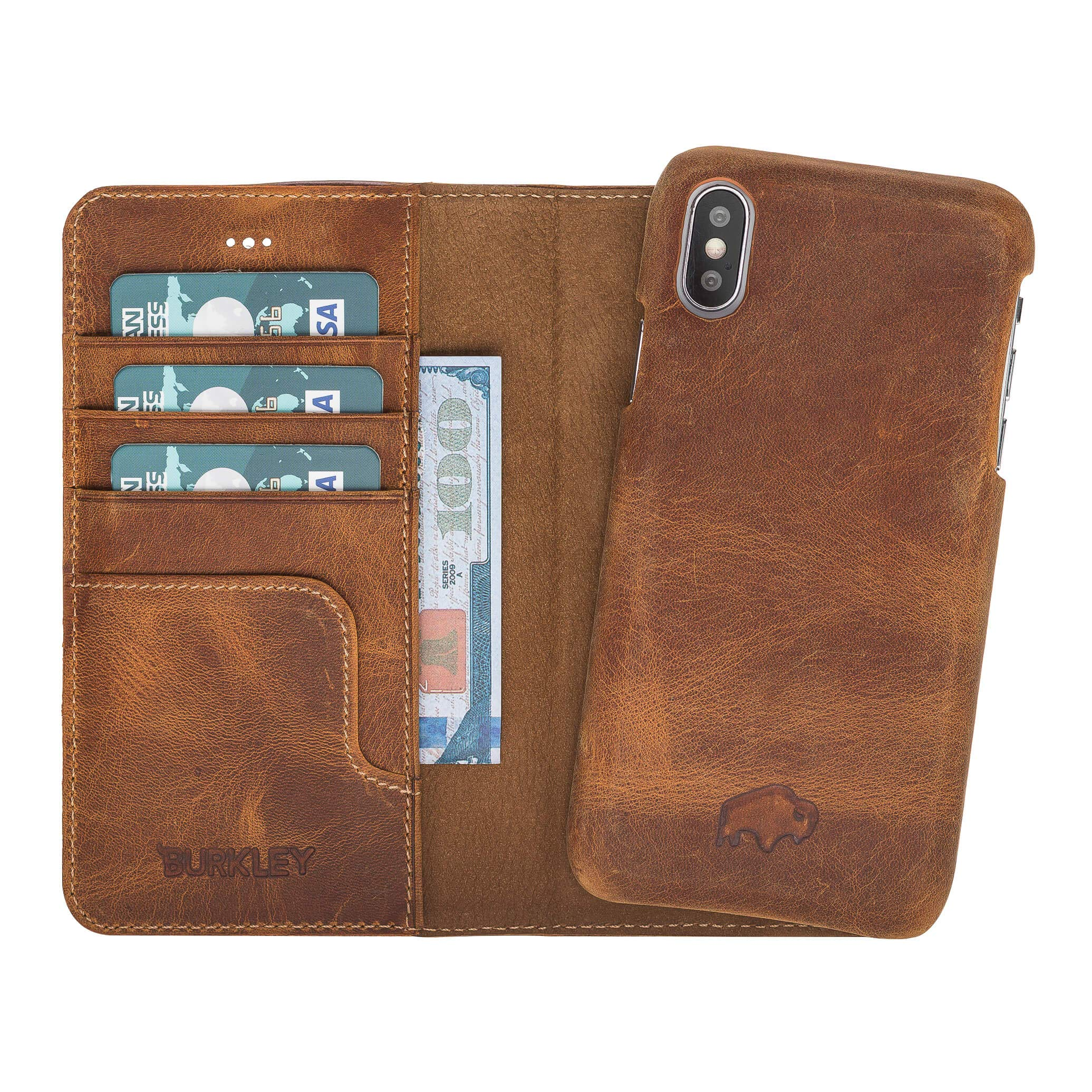 Pieno Full Leather Covered 2 in 1 Detachable Leather Wallet Case with Flap Closure & Premium Snap-on Case, Book Style Cover Compatible Apple iPhone X/XS (Antique Golden Brown) by Burkley Case