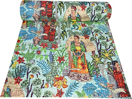 Indian Kantha Quilt Floral Printed Queen Size 100 /% Cotton Bedspread Flat Sheet