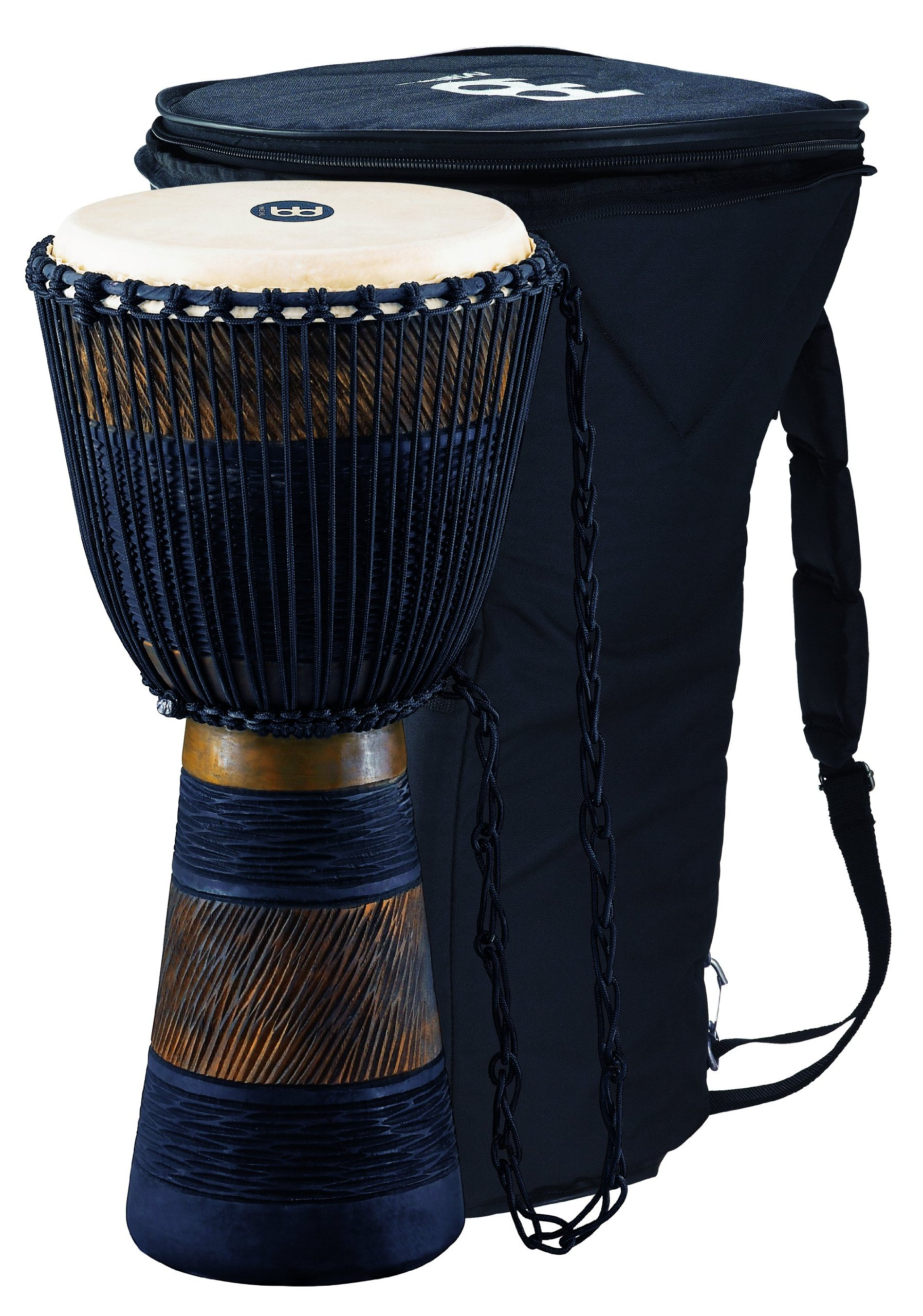 Meinl Percussion ADJ3-L+BAG African Style Rope Tuned 12-Inch Wood Djembe with Bag, Brown/Black