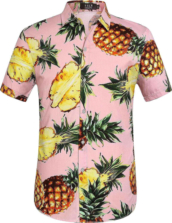 SSLR Men's Cotton Short Sleeve Tropical Hawaiian Shirt