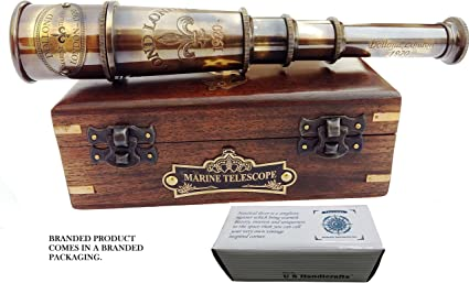 Amazon.com: DOLLOND London 1920 Marine Collectible Décor Nautical Spyglass Antique Mounted Solid Brass 15 Inch Pirate Telescope with Wooden and Branded corrugate Box.: Camera & Photo