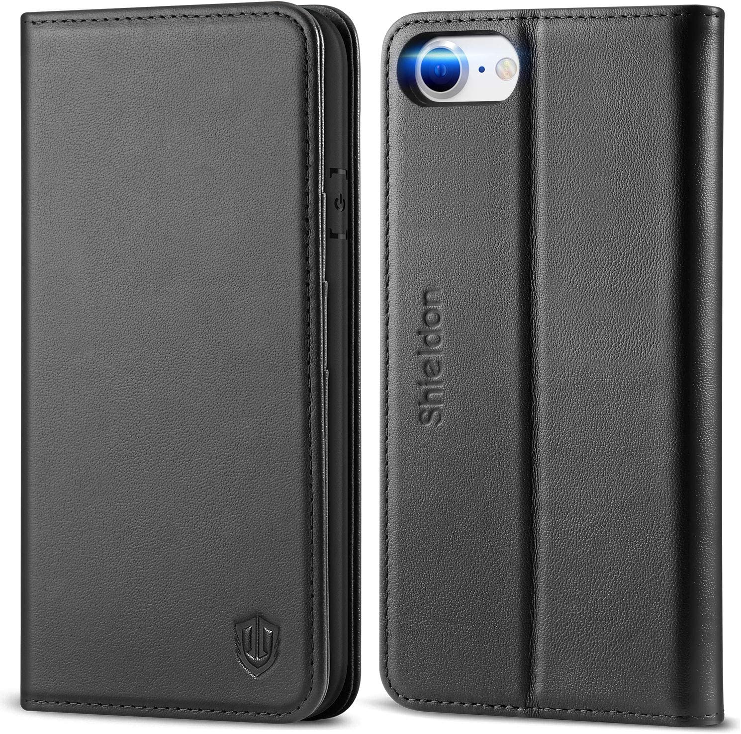 "SHIELDON iPhone SE 2020 Case, iPhone 8 Wallet Case Genuine Leather [Card Holder] Magnetic Closure Stand Flip Book Cover Shockproof Protection Case Compatible with iPhone SE2/8/7 (4.7"") - Black"