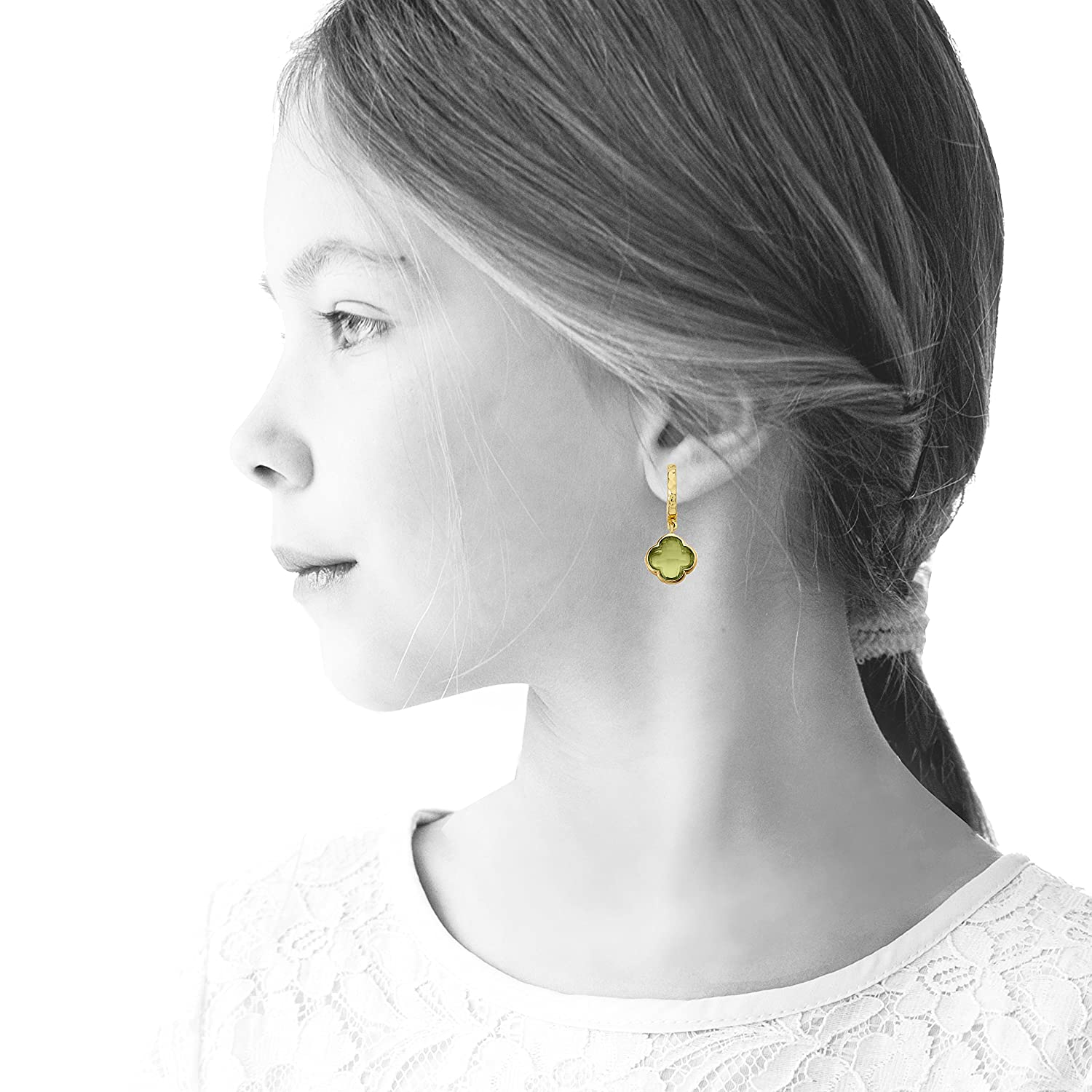 Hypoallergenic and Nickel Free For Sensitive Ears Little Miss Twin Stars Hammered 14k Gold-Plated Huggy Earring With Faceted Clover Dangle