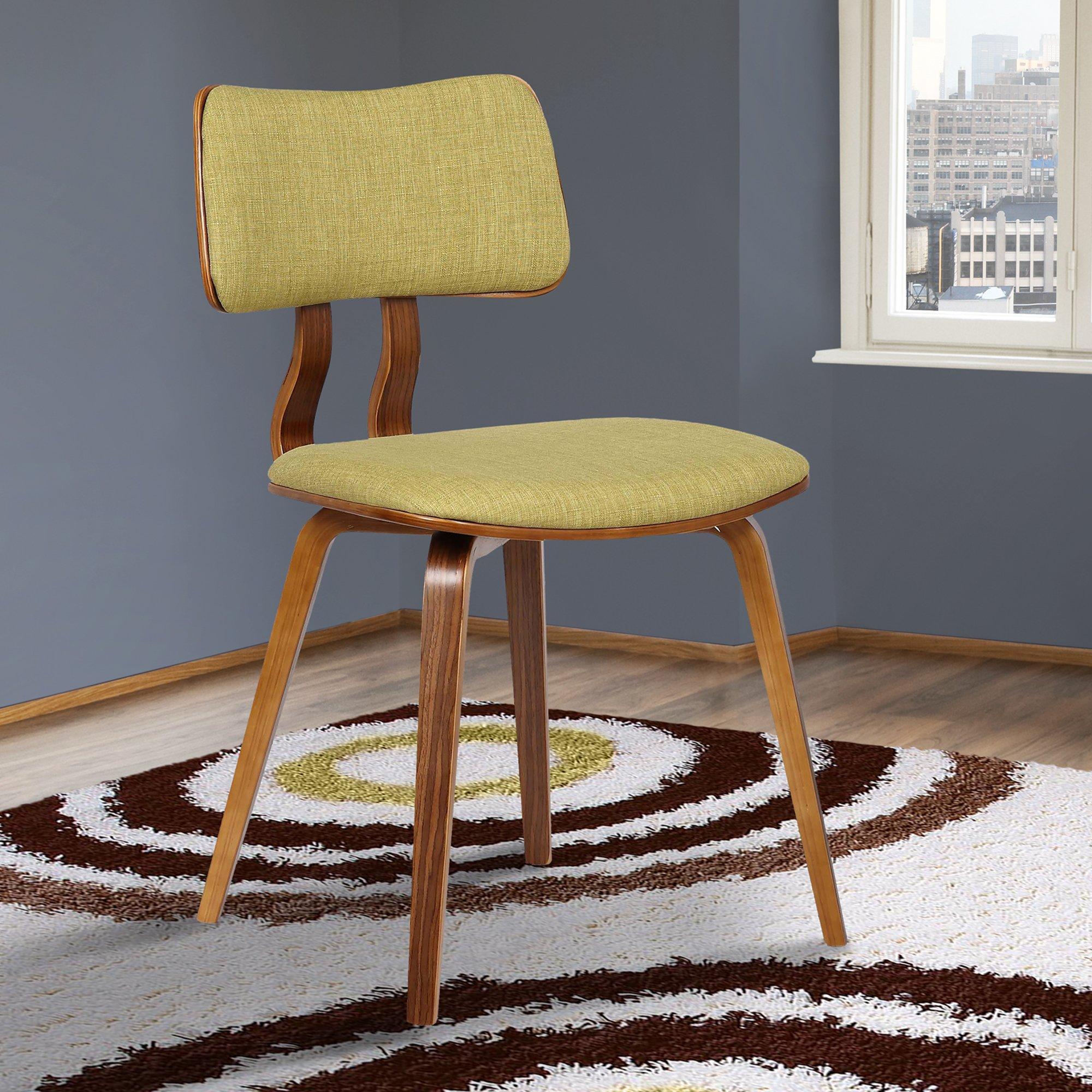 Armen Living LCJASIWAGREEN Jaguar Dining Chair in Green Fabric and Walnut Wood Finish