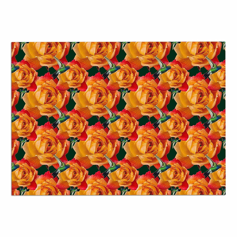 KESS InHouse SM1019ADM02 Shirlei Patricia Muniz Hummingbird Yellow Floral Dog Place Mat, 24  x 15