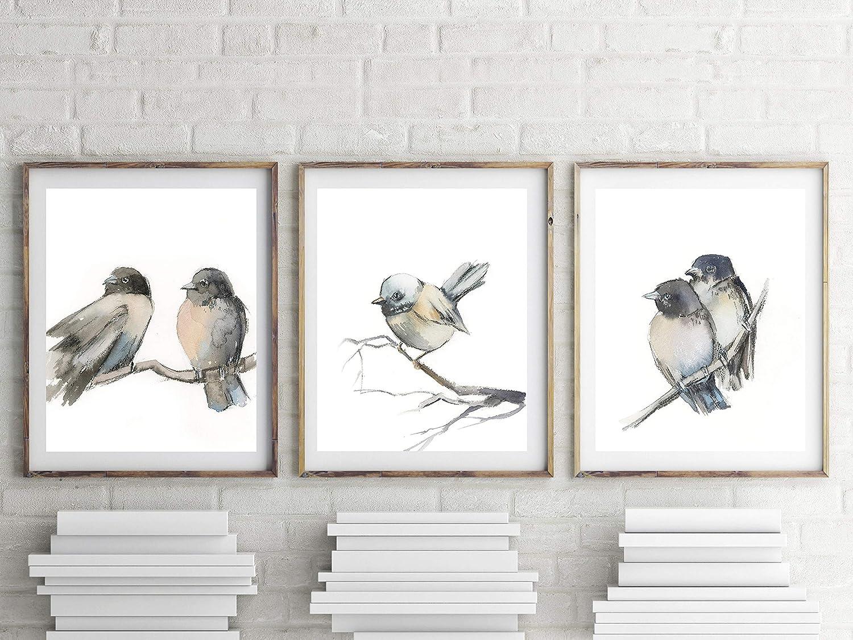 amazon com grey birds art prints set 3 fine art prints bird rh amazon com