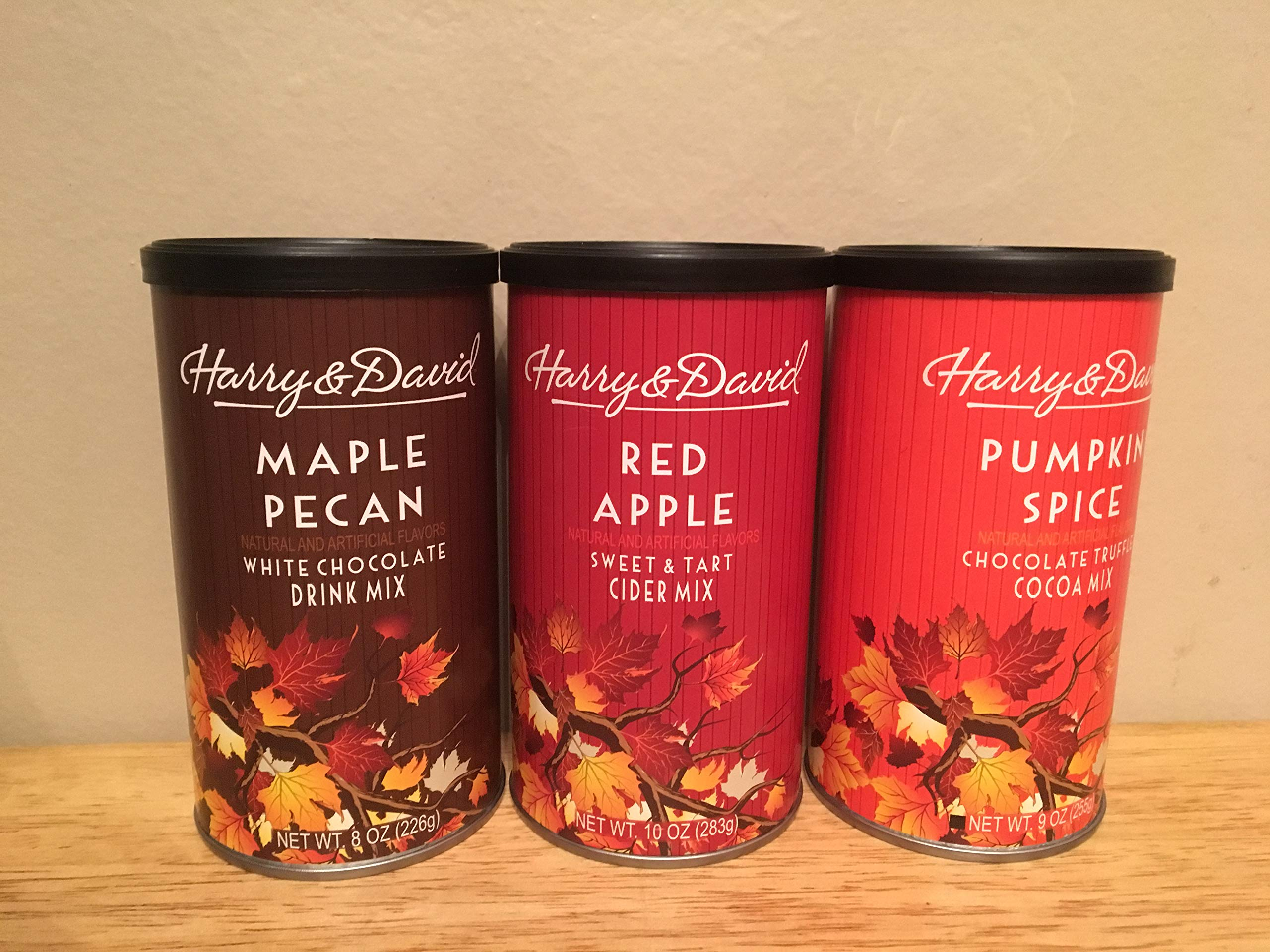 Harry & David Limited Edition Gift Bundle Pumpkin Spice Cocoa mix, Red Apple Cider mix & Maple Pecan White Chocolate mix