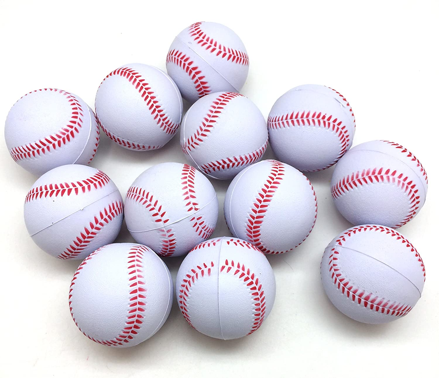 PEPPERLONELY 12PC//Pack White Baseball Sports Stress Ball Squeeze Balls for Stress Relief 3 Stocking Stuffers Ball Games and Prizes Party Favors