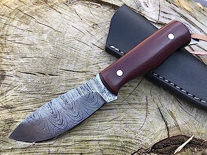 Perkin Cuchillo Caza Cuchillo de Acero Damasco SK400: Amazon ...
