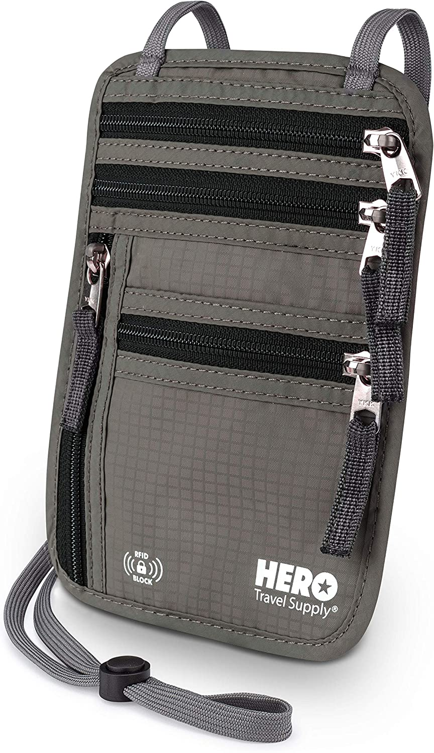 | HERO Neck Wallet – RFID Blocking Passport Holder – Easy to Conceal TravelPouch | Travel Wallets