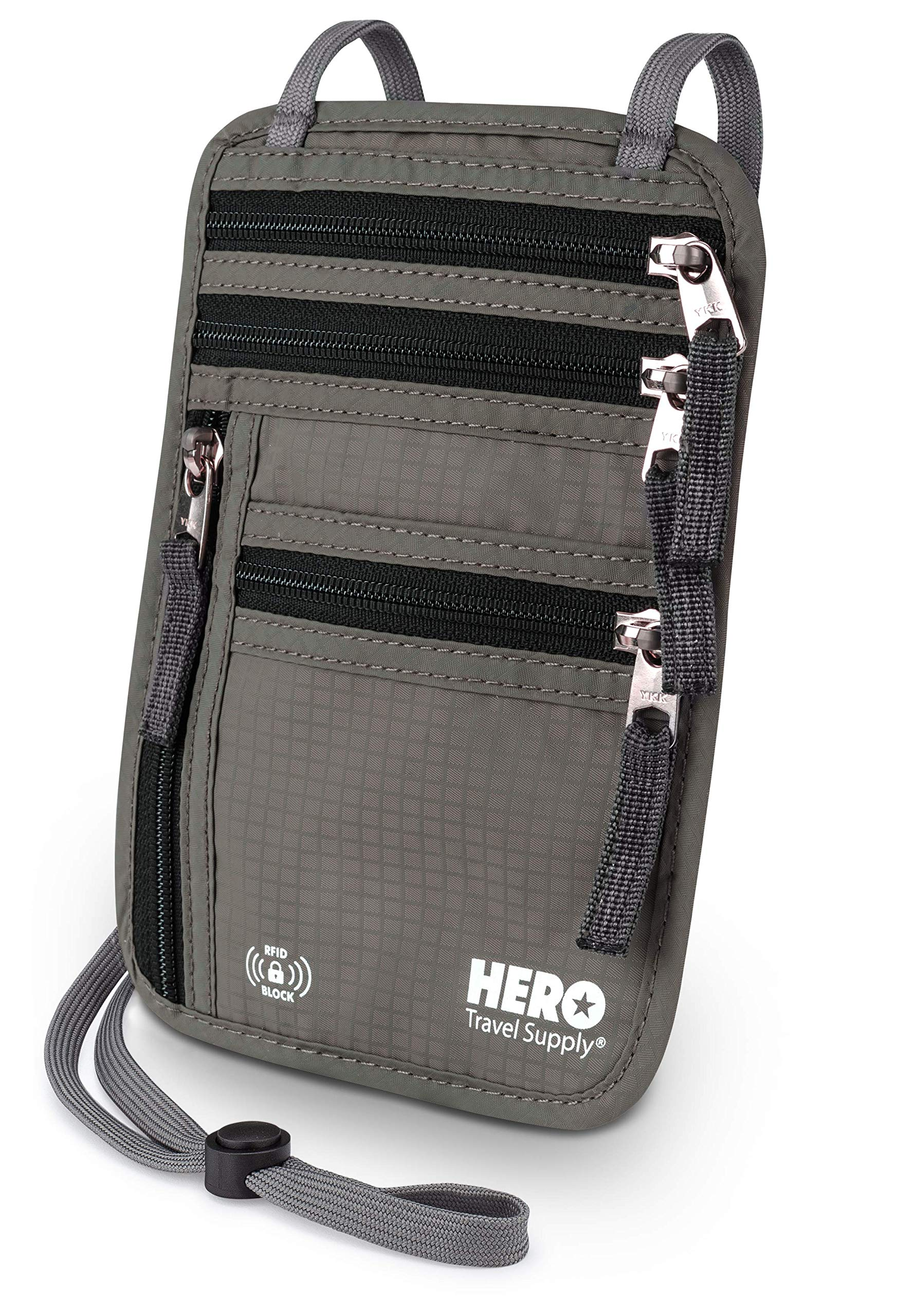 HERO Neck Wallet - RFID Blocking Passport Holder - Easy to Conceal Travel Pouch - Includes Ebook on How to Avoid Pickpockets by Asher & Lyric by Hero Travel Supply