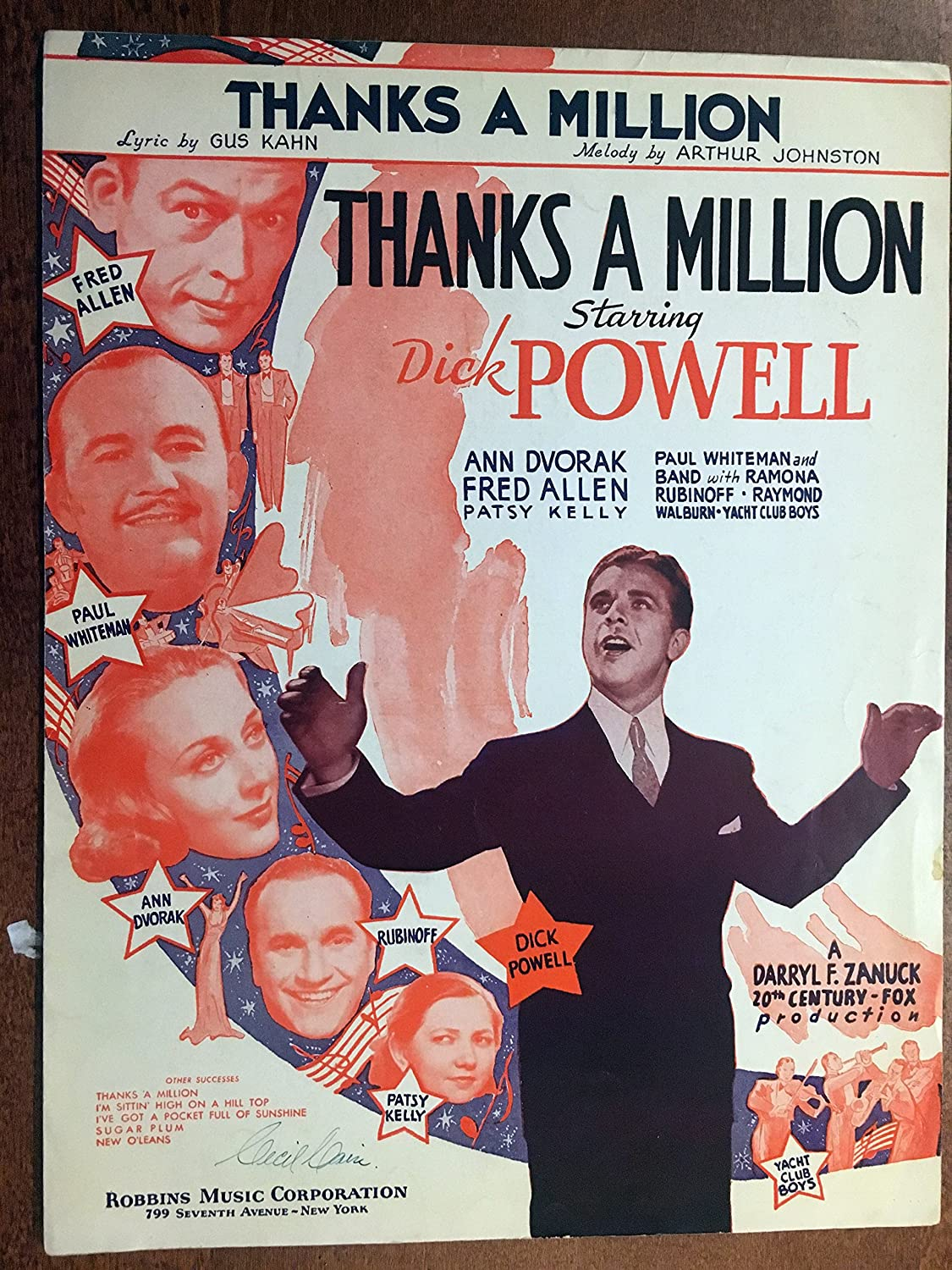 Amazon.com: THANKS A MILLION (Arthur Johnston SHEET MUSIC) from ...