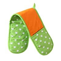 Homescapes - Pure Cotton Double Oven Glove - Stars - Lime Green Orange - 18 x 84 cm - Fully Coordinated Washable Kitchen Linen