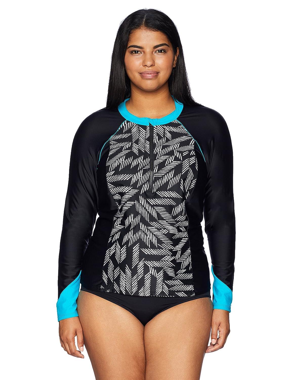 Coastal Blue Women's Plus Size Active Swimwear Zipper Colorblock Rash Guard AMZ200061P