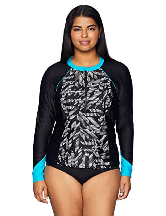 3f14ce1a6e Coastal Blue Women's Swimwear Zipper Colorblock Rash Guard, Black Marks The  spot, XS (