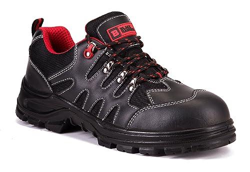 Calzado Deportivo Masculino de Seguridad en Piel con Puntera de Acero Ligera-Zapatos de Trabajo