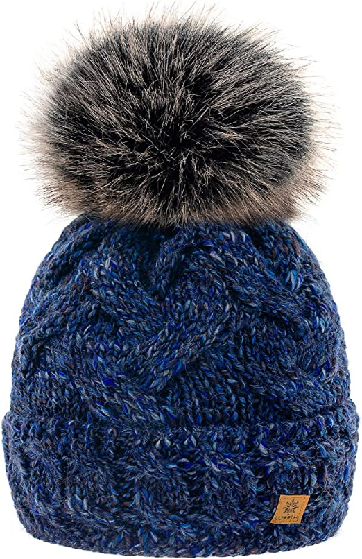 MFAZ Morefaz Ltd Set Cappello /& Sciarpa Donne Beanie Cappelli Invernale Collo a Maglia in Pile Cappello Pom Pom