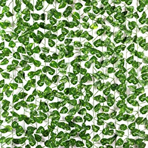 CQURE 14 Pack 98Ft Artificial Ivy Garland,Ivy Garland Fake Vine UV Resistant Green Leaves Fake Plants Hanging Vine Plant for Wedding Party Garden Wall Decoration