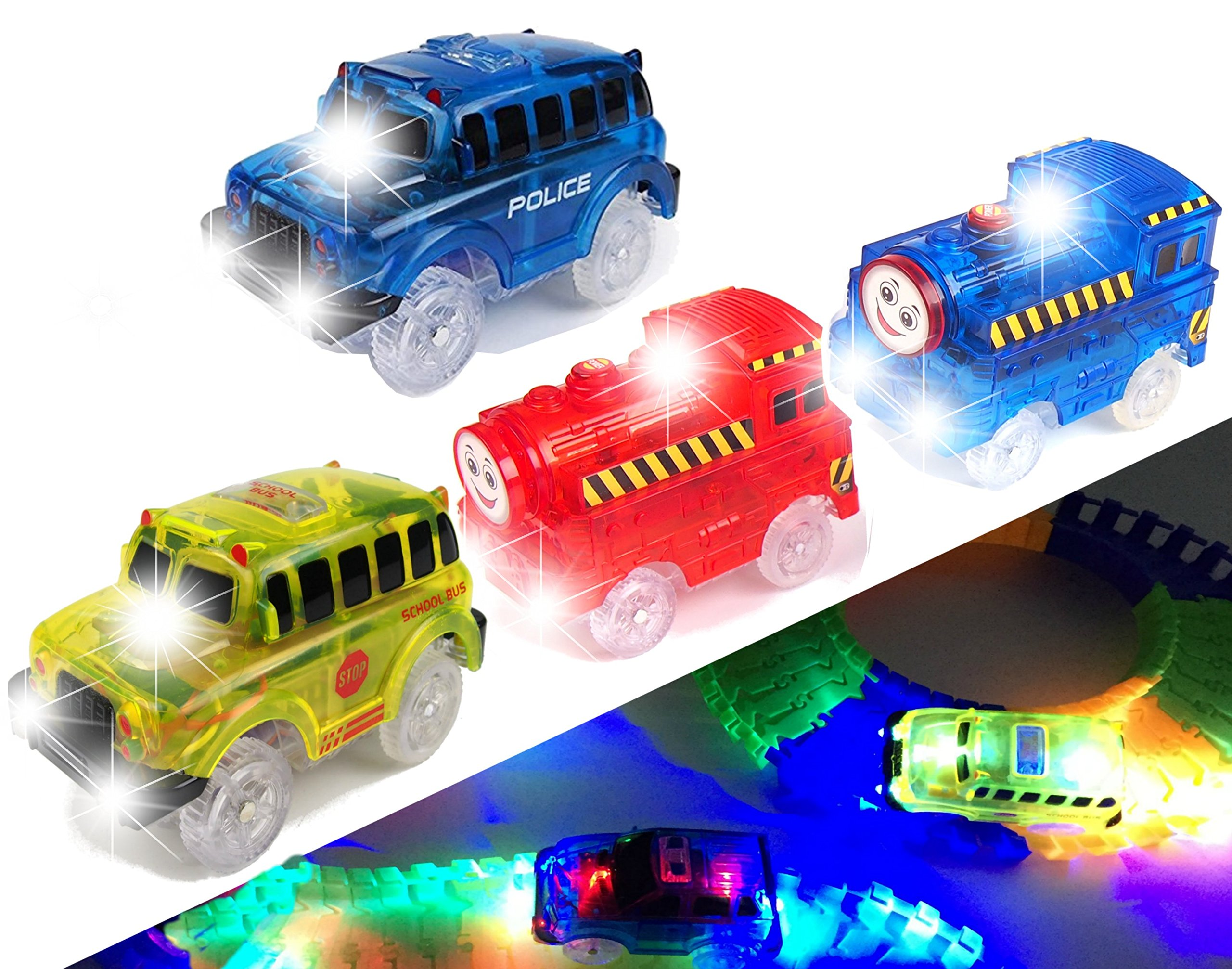 [4-Pack] Light Up Track Replacement Race Cars + Trains Toy | Glow in The Dark Racing Track | w/ 5 LED Lights | Independent & Track Play| Track Accessories Compatible with Most Tracks for Boys & Girls