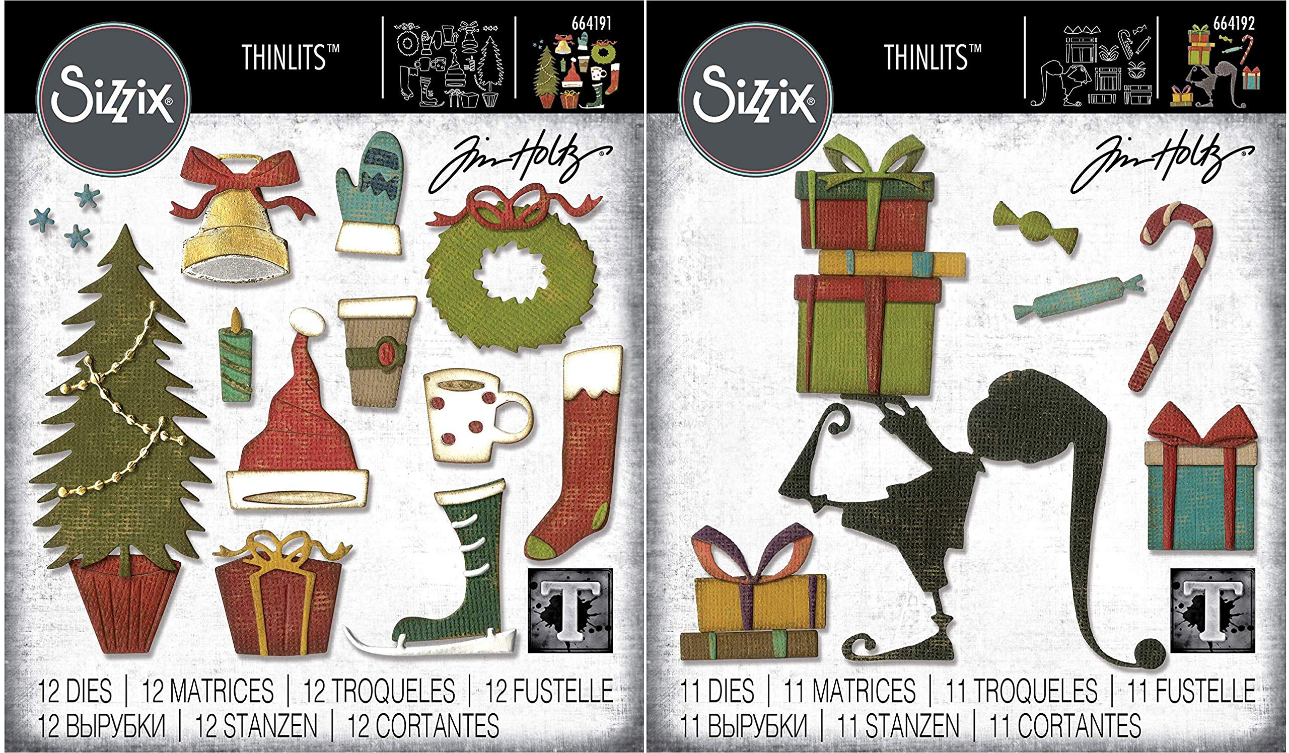 Tim Holtz Sizzix Holiday 2019 Thinlit Sets - Festive Things and Santa's Helper - 2 Items