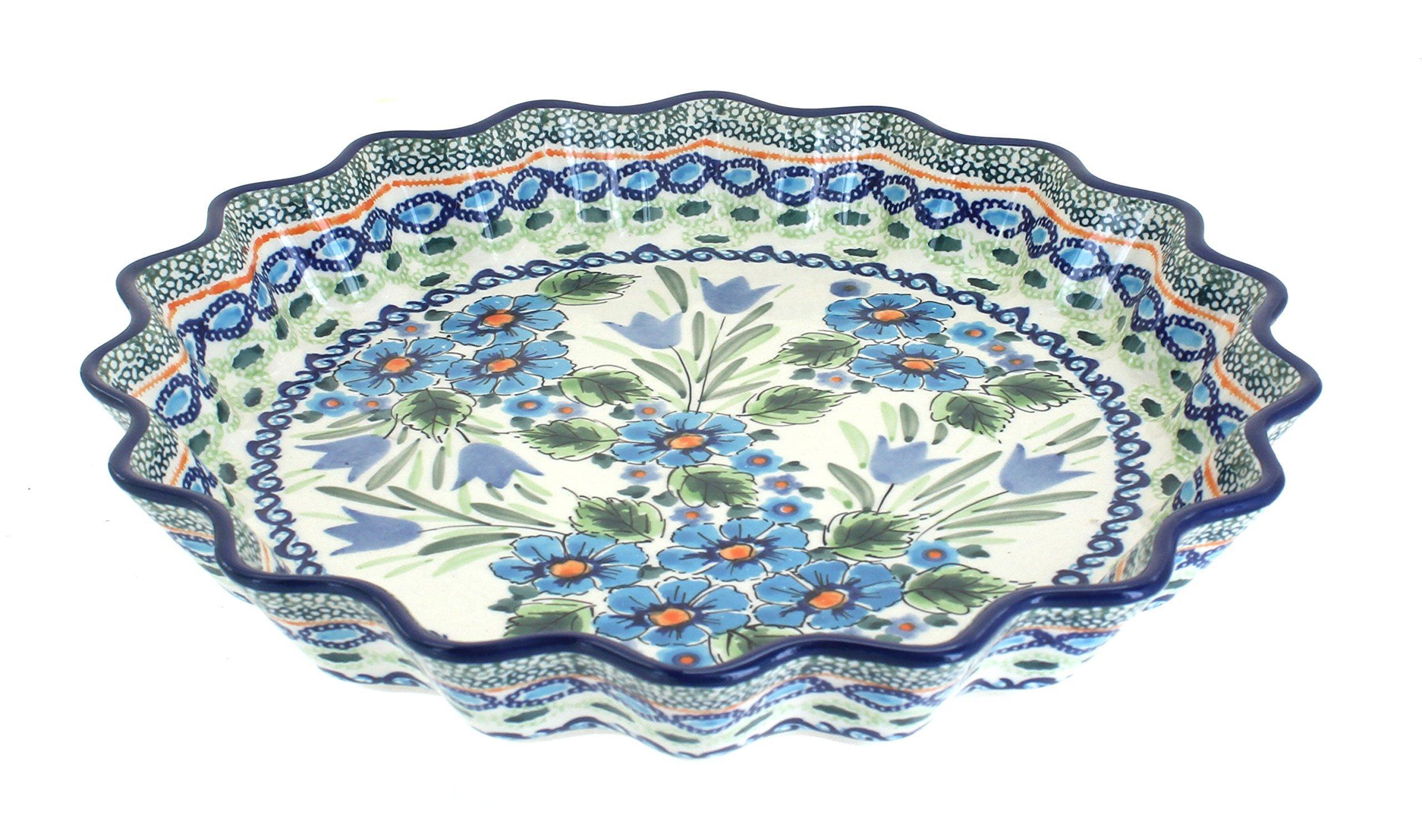 Blue Rose Polish Pottery Ballina Scallop Quiche Dish
