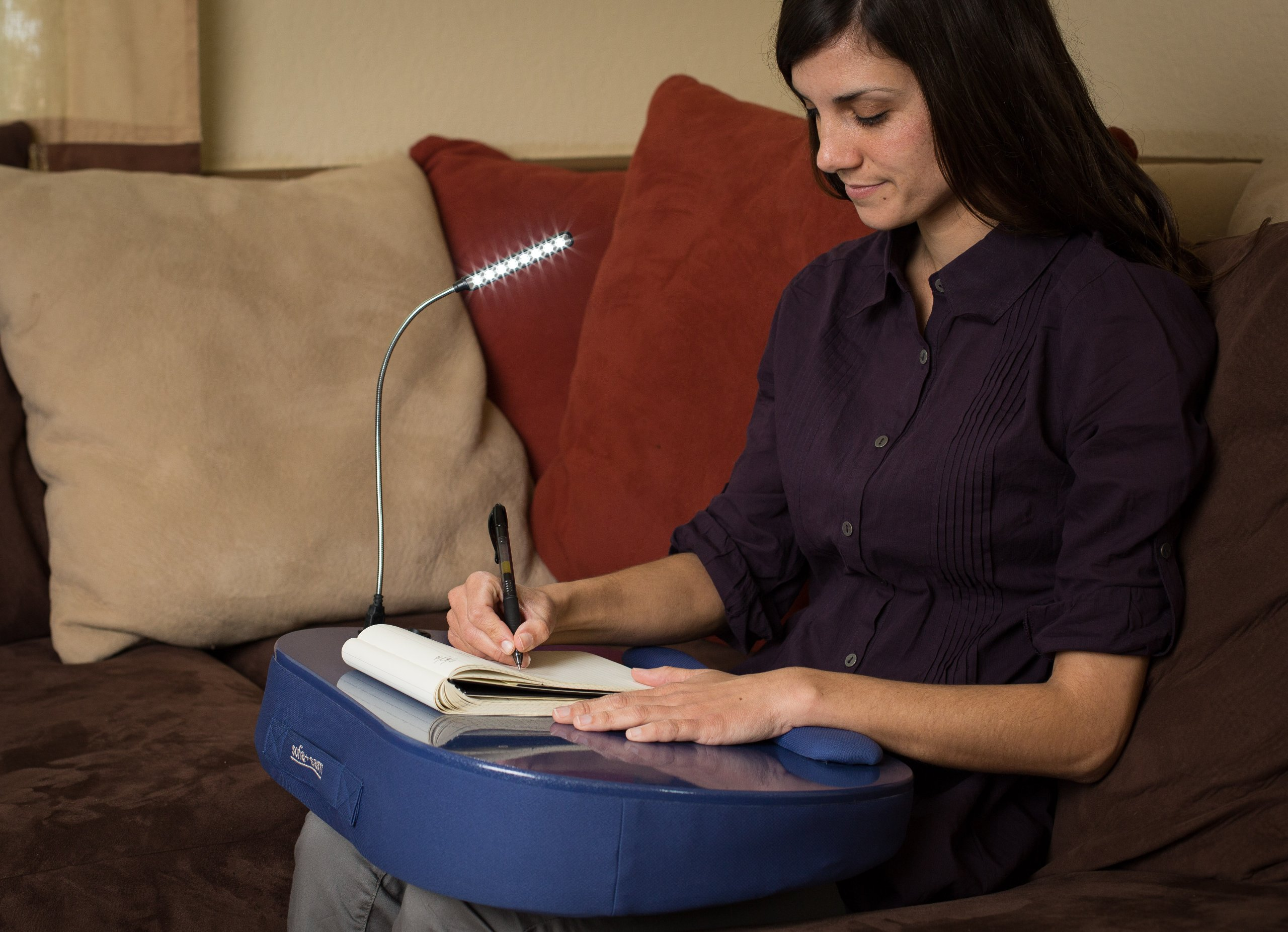 Sofia + Sam Round Lap Desk with Detachable USB Light (Blue) | Memory Foam Cushion | Supports Laptops Up To 18 Inches by Sofia + Sam
