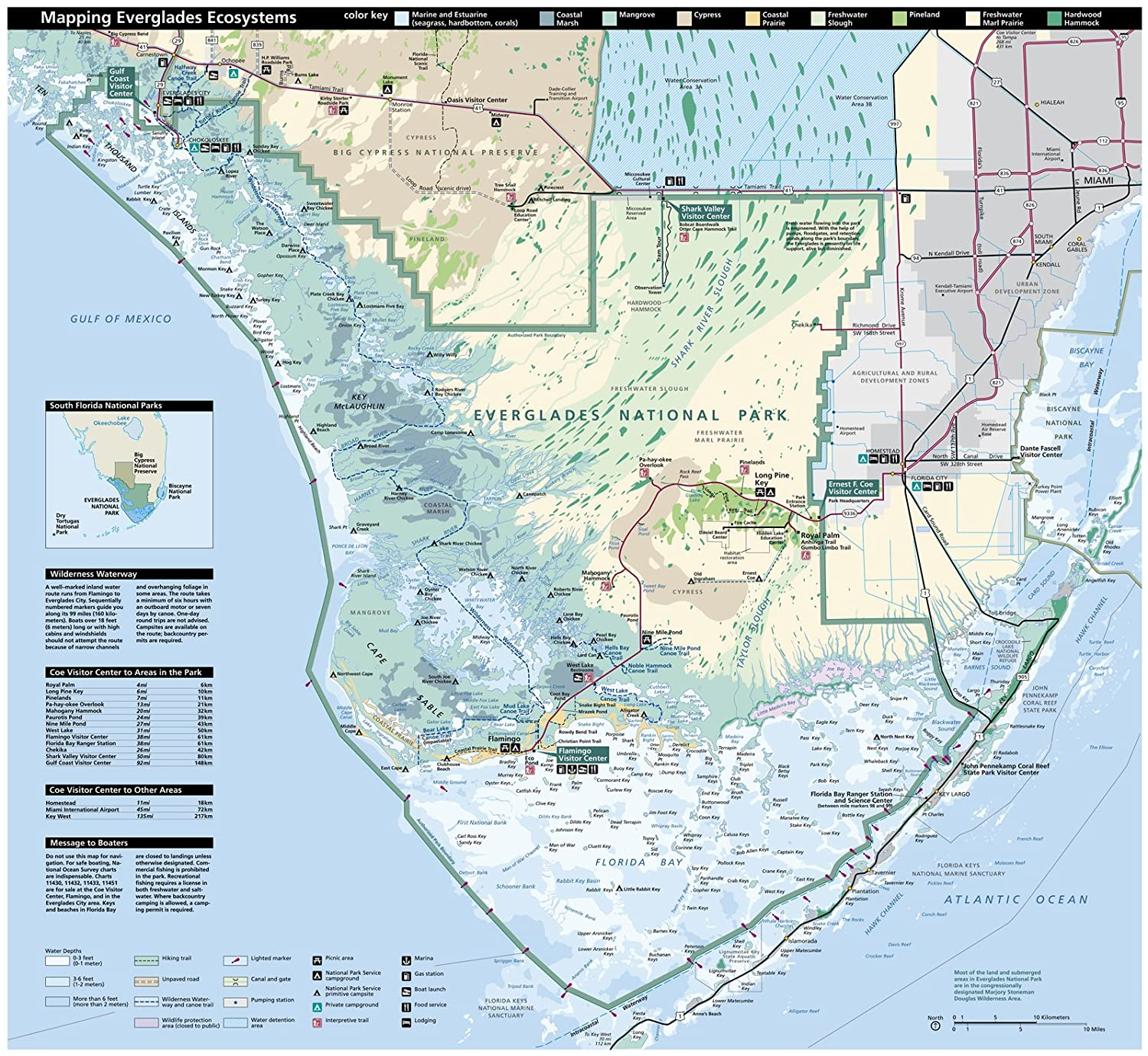 Map Of Florida Bay.Amazon Com Wall Map Of The Everglades National Park In Florida 23