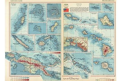 Guam And Hawaii Map.Amazon Com History Prints Pacific Islands Map 1967 Fiji Guam