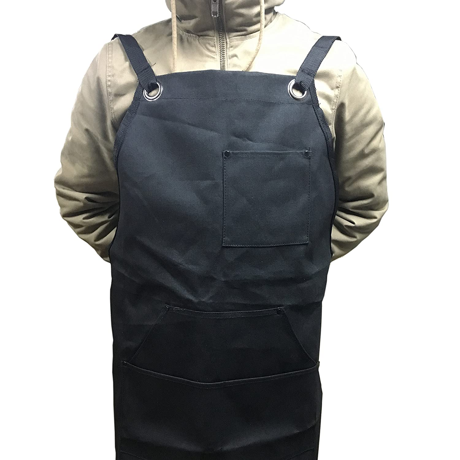 Silfrae Oxford Canvas Work//BBQ Grilling Apron with Tool Pockets Adjustable