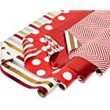American Greetings Reversible Christmas Foil Wrapping Paper, Red and Gold, Polka Dot and Stripe (4 Pack, 120 sq. ft.)