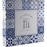 Cookbook Recipe Binder/Organizer, Blue Pattern 3-Ring Binder to Hold All Your Recipes and Recipe Cards, 6 Tabbed Divider Sect