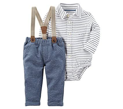 6eb12f042 Amazon.com  Carter s Baby Boys  Striped Bodysuit and Suspender Pants Set 24  Months  Clothing
