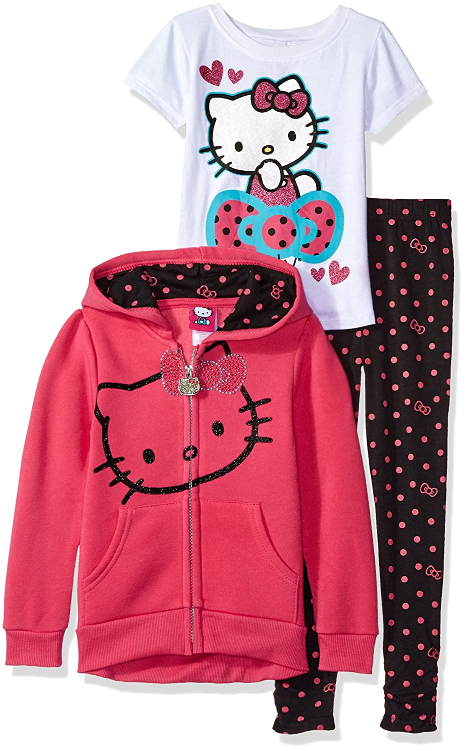 Hello Kitty Girls' 3 Piece Zip up Hoodie Legging Set with T-Shirt and Printed Leggings K861