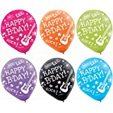 Vibrant Neon Printed Latex Birthday Party Balloons Decoration, 6 Pieces, Made from Latex,