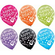 """Vibrant Neon Printed Latex Birthday Party Balloons Decoration, 6 Pieces, Made from Latex, Neon Doodle Party, 12"""" by Amscan"""