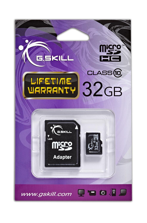 G.Skill FF-TSDG32GA-C6 Carte Flash Micro SDHC Classe 6 avec Adaptateur SD 32 go Noir